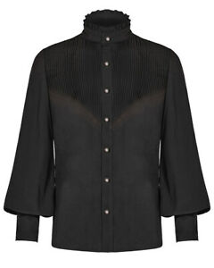 Punk Rave Mens Steampunk Poet Shirt Top Black Pleated Gothic Vintage Victorian