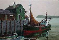 JACK COGGINS-NY/PA Realist-Original Large Signed Oil-Green Dragger/Boat Harbor