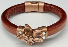 Brown Leather Bangle Bracelet with Copper Flower and Rhinestones