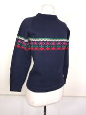 Vintage 70's Womens Xs Hand Made Blue 100% Wool Ski Fair Isle Sweater Vt