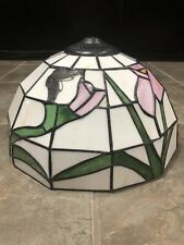 "Lg Stain Glass Lamp Shade Chandelier Floral White Leaded 11.5""Diameter, Vintage"
