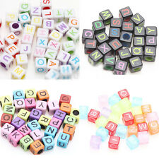 Lots 50/100Pcs Multi-color Cube Acrylic Letter Print Charms Spacer Beads 5x5x5mm
