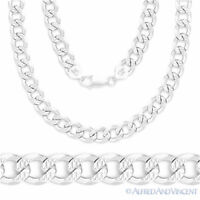 Italy 925 Sterling Silver 5.8mm DCut Pave Curb Cuban Link Italian Chain Necklace