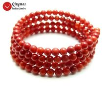4-5mm Round Red Natural Coral Steel Wire Wrap Bracelet  for Women 28'' bra448