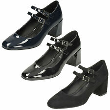 £9.99 LADIES SPOT ON BLOCK HEEL BUCKLE STRAP FORMAL MARY JANE COURT SHOES F9R922