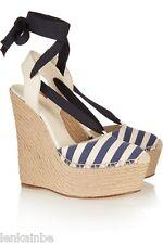 Gucci Alexis Canvas Espadrille Lace Up Stripe Platform Wedges 371687 38.5 8.5