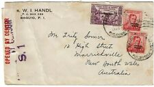 Philippines 1940 Bagulo cancels on cover to Australia, censored