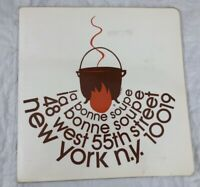 Vintage La Bonne Soupe Menu New York Manhattan 55th Street 70's Original Midtown