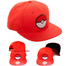 Pokemon Ball Cartoon Red Snapback Hat Flat Bill Video Game TV Show Youth Cap