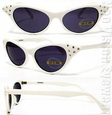 Rhinestone Cat Eye Womens Pinup Vintage Style Sunglasses Smoke White RSAF