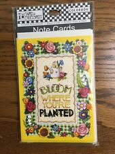 Mary Engelbreit Blank Note Card Set Bloom Where You're Planted 8 ct New Sealed