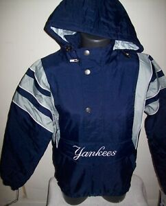 NEW YORK YANKEES Starter Hooded Half Zip Pullover Jacket S M L XL 2X BLUE
