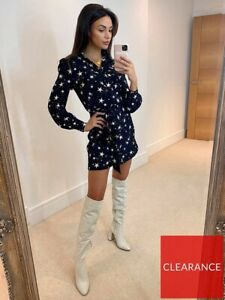 Michelle Keegan Star Print Long Sleeve Belted Mini Dress Black Size 14