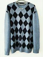 JEAN PAUL Herren Pullover 100% Wolle Raute Feinstrick Gr. XL   #LRZ1035