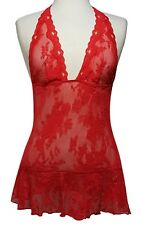 VICTORIA'S SECRET Red Lace Halter Babydoll Medium (M)