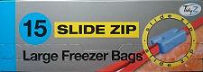 Tidy z 15 slide zip grand réfrigérateur congélateur food sacs forte auto-adhésive 22cm x 22cm