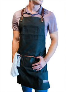 Utility Barista Apron - Black Waxed Canvas with Genuine Leather Straps