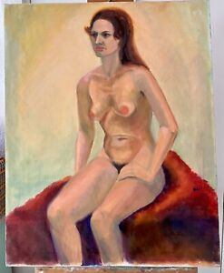 VINTAGE MCM NUDE WOMAN SITTING ON BED - SIGNED OIL PAINTING 24x30