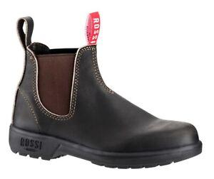 ROSSI BOOTS Endura Claret Brown Leather Dealer Classic Chelsea Boots Australia