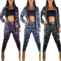 DAMEN SOMMER JOGGINGANZUG TRAININGSANZUG CAMOUFLAGE FITNESS SPORTANZUG BLOGGER