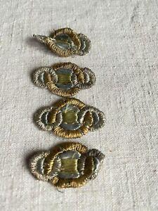 Vintage Appliques Art Deco appliqués Metallic Bullion & Silk Period Costume /6pc