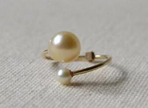 Mizuki Double Pearl Gold Ring Size 6
