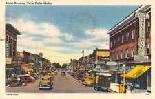 Twin Falls Idaho Main Avenue Street Scene Linen Antique Postcard J69840