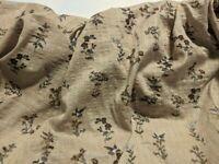 "Light Brown Seersucker Hummingbird Cotton Lawn Fabric Print 57"" Wide Fabric"