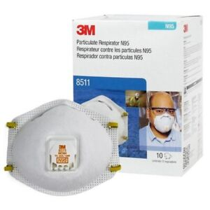 3M8511 Particulat Respiratoor W/ Exhalation Valve, Box of 10 EXP 1/2026