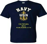 USS NEVADA  BB-36 PEARL HARBOR WW II VINYL & SILKSCREEN NAVY ANCHOR SHIRT.