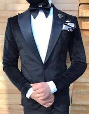 Designer Black Velvet Suit Smoking Hochzeitanzug Suit Fitted Slim Fit