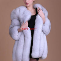 New Women's Winter Fox Fur Coat Celebrity Thick Outwear Furry Jacket FULL SIZE