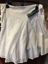 NWT Ralph Lauren Women's White Eyelet Boho Cotton Lined SIZE 12 Skirt New
