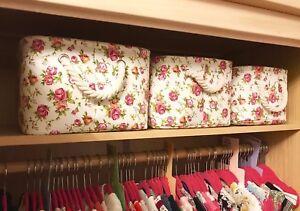 Canvas Storage Baskets Box Rectangular Floral Girls Bedroom Bathroom Organiser