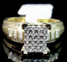 10K Yellow Gold Big Look Round Cut Genuine Diamond Cinderella Engagement Ring