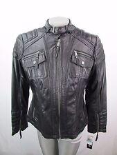 Michael Kors Plus Size 0X Full Zip Black Leather Moto Jacket MSRP $480 MK77
