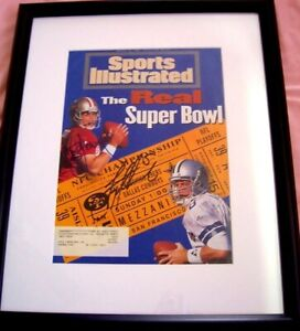 Troy Aikman Steve Young signed & framed 1995 NFC Championship Sports Illustrated