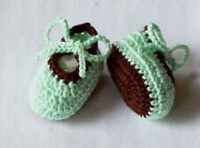 0-3 Months Hand Crocheted Baby Girl Booties Green and Brown Color Mary Joe Style