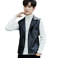Mens Lapel Vest PU Leather Jacket Slim Fit Waistcoat Sleeveless Casual Tops Zip
