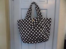 "Kate Spade Black White Apples Bow Nylon Flatiron Lg 11"" x 18""  Tote Shoulder Bag"