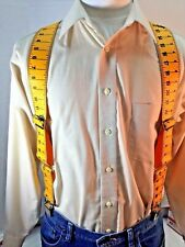 "New, Men's, Yellow Tape Side Clip Suspenders/Braces, XL,48"", 2"", Adj. Made n USA"