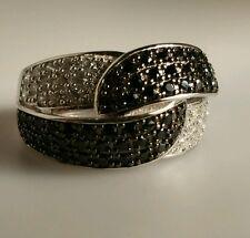 SS925 Ring Black & White Größe 17 (53,5) Rhodiniert CZ Sterlingsilber gestempelt