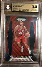 Ben Simmons 2017 Panini Prizm RUBY WAVE PRIZM #9 BGS 9.5 Refractor style ROY