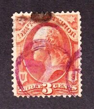 US O17 3c Interior Department Used w/ Violet Star in Circle Cancel