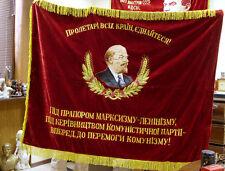 Soviet FLAG BANNER LENIN velvet ORIGINAL communist PROPAGANDA USSR