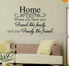 Friends like family Wall Quote decals Removable stickers decor Vinyl home art