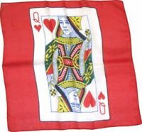 """18"""" QUEEN OF HEARTS CARD SILK Magic Trick Playing Red Scarf Magician Prop"""