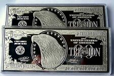 """2 x $20 TRILLION PROOF 4oz SILVER CURRENCY BARS IN AIR-TITE CASES 2.5"""" x 6""""  COA"""