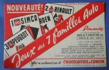 Buvard publicitaire chocolaterie de l'union jeux des 7 familles auto