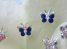 PENDIENTES AROS mariposa azul oscuro cristal plata